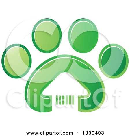 Clipart of a White House in a Gradient Green Dog Paw Print - Royalty Free Vector Illustration by Lal Perera