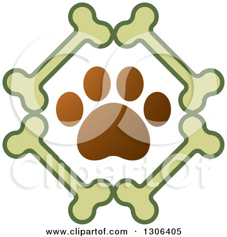 Clipart of a Gradient Brown Dog Paw Print in a Diamond of Bones - Royalty Free Vector Illustration by Lal Perera