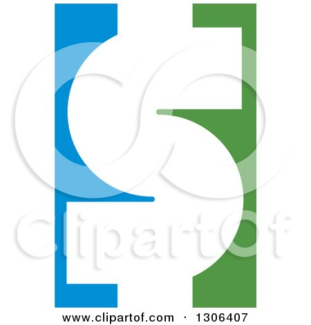 Clipart of a White USD Dollar Currency Symbol on Blue and Green - Royalty Free Vector Illustration by Lal Perera