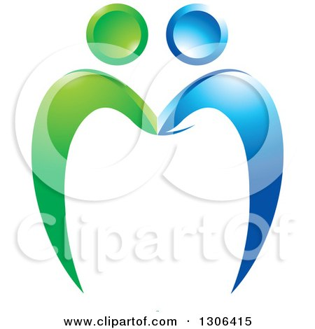 Clipart of a Blue and Green Couple Forming a Tooth - Royalty Free Vector Illustration by Lal Perera