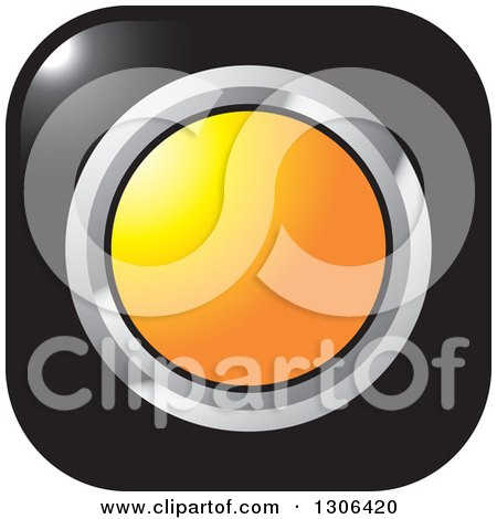 Clipart of a Shiny Black Square Button Icon with a Chrome and Orange Circle - Royalty Free Vector Illustration by Lal Perera