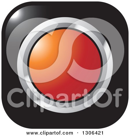 Clipart of a Shiny Black Square Button Icon with a Chrome and Red Circle - Royalty Free Vector Illustration by Lal Perera