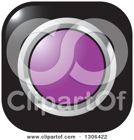 Clipart of a Shiny Black Square Button Icon with a Chrome and Purple Circle - Royalty Free Vector Illustration by Lal Perera