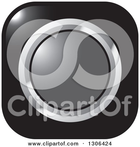 Clipart of a Shiny Black Square Button Icon with a Chrome and Gray Circle - Royalty Free Vector Illustration by Lal Perera