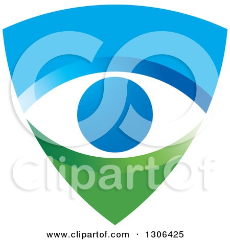 Clipart of a Blue and Green Shield with an Eye - Royalty Free Vector Illustration by Lal Perera