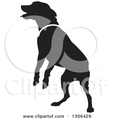 Clipart of a Black Silhouetted Jumping Dog - Royalty Free Vector Illustration by Lal Perera