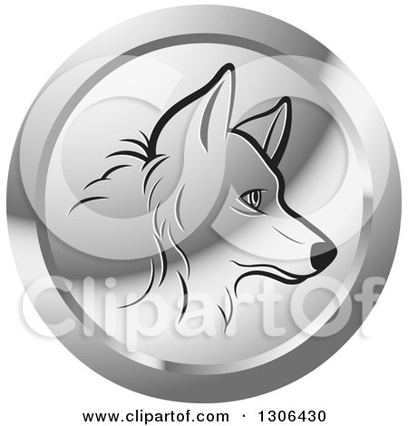 Clipart of a Black Profiled Dog Face in a Silver Icon Circle - Royalty Free Vector Illustration by Lal Perera