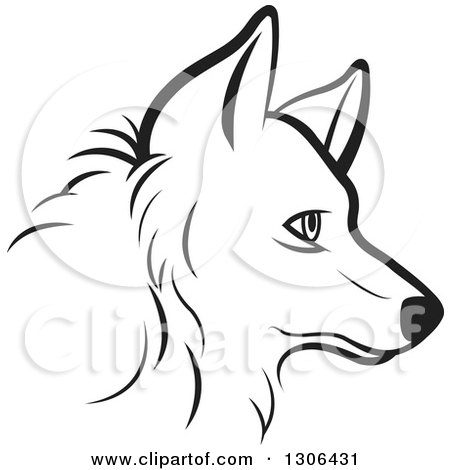 Clipart of a Black and White Profiled Dog Face - Royalty Free Vector Illustration by Lal Perera