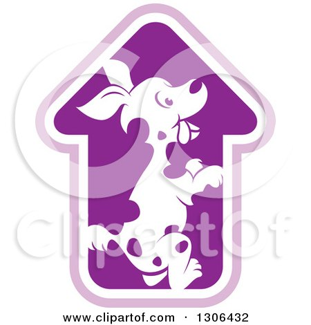 Clipart of a Spotted Dog in a House or Arrow Shaped Cage - Royalty Free Vector Illustration by Lal Perera