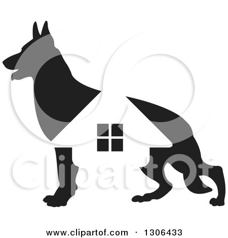 Clipart of a Black Silhouetted German Shepherd Dog and House - Royalty Free Vector Illustration by Lal Perera