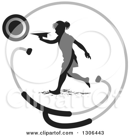 Clipart of a Black Silhouetted Girl Running and Playing with a Paper Plane in a Stethoscope Circle - Royalty Free Vector Illustration by Lal Perera
