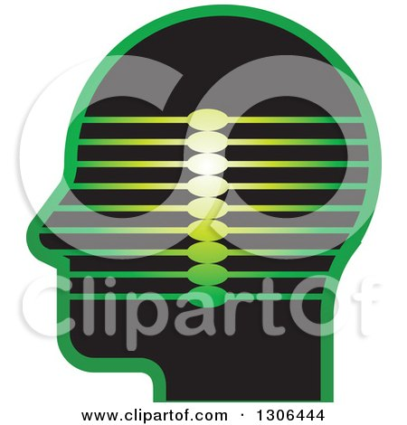 Clipart of a Black and Green Profiled Head with Lines - Royalty Free Vector Illustration by Lal Perera