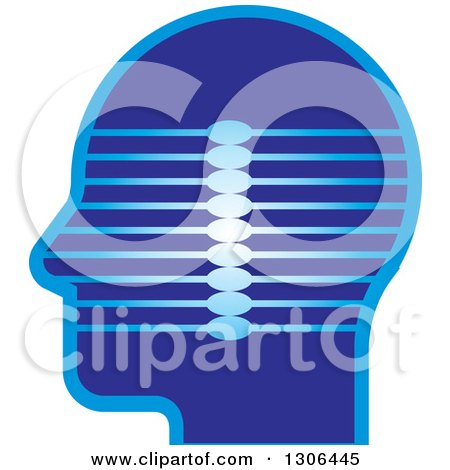 Clipart of a Blue Profiled Head with Lines - Royalty Free Vector Illustration by Lal Perera
