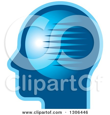Clipart of a Blue Profiled Head with a Globe and Lines - Royalty Free Vector Illustration by Lal Perera