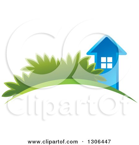 Clipart of a Blue House on an Arch with Shrubs - Royalty Free Vector Illustration by Lal Perera