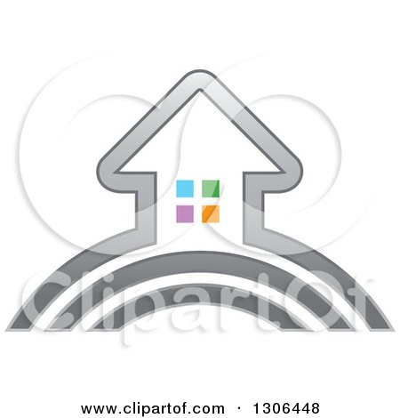 Clipart of a Silver House with Colorful Windows on an Arch - Royalty Free Vector Illustration by Lal Perera