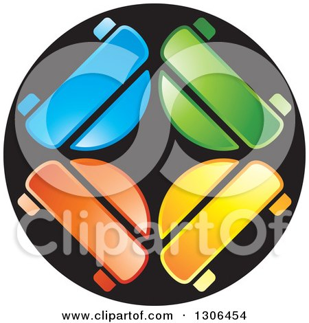 Clipart of a Colorful Car Circle Logo - Royalty Free Vector Illustration by Lal Perera
