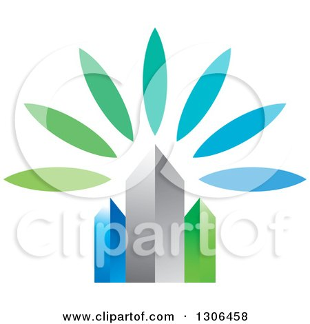 Clipart of 3d Blue Silver and Green City Skyscrapers and Flower Petals - Royalty Free Vector Illustration by Lal Perera