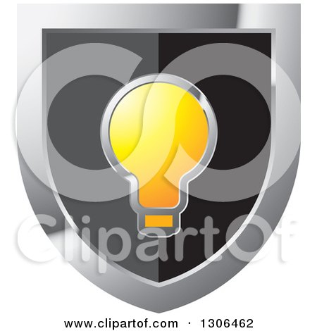 Clipart of a Black and Silver Shield with a Light Bulb - Royalty Free Vector Illustration by Lal Perera
