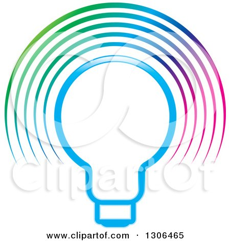 Clipart of a Gradient Blue Light Bulb and Colorful Glow Arches - Royalty Free Vector Illustration by Lal Perera