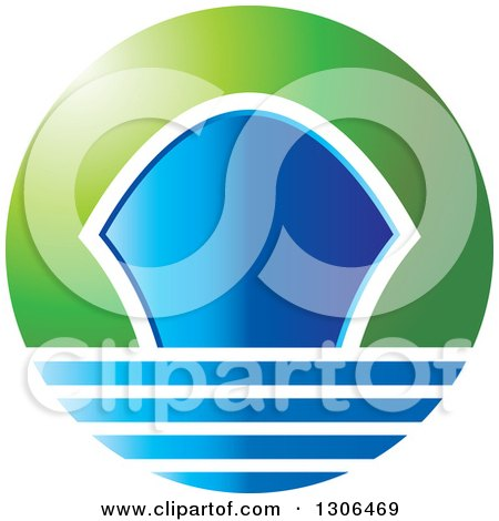 Clipart of a Blue and Green Gradient Ship Icon - Royalty Free Vector Illustration by Lal Perera