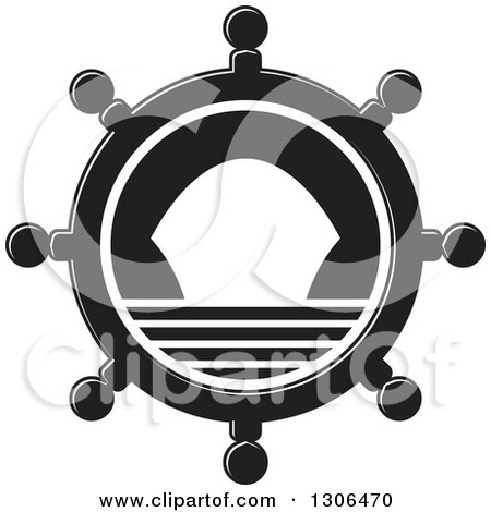 Clipart of a Black and White Helm with a Ship - Royalty Free Vector Illustration by Lal Perera