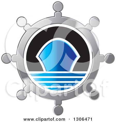 Clipart of a Silver Helm with a Blue Ship - Royalty Free Vector Illustration by Lal Perera