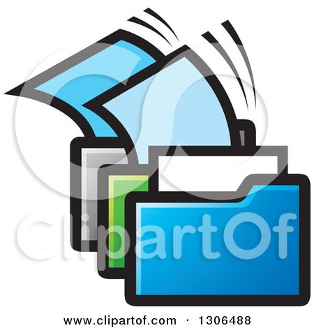 Clipart of Blue Green and Silver File Folders with Papers - Royalty Free Vector Illustration by Lal Perera