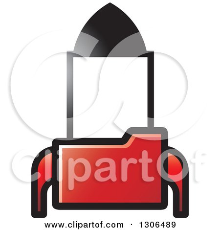 Clipart of a Red File Folder Forming a Rocket - Royalty Free Vector Illustration by Lal Perera