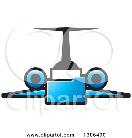 Clipart of a Blue File Folder Forming a Jet - Royalty Free Vector Illustration by Lal Perera
