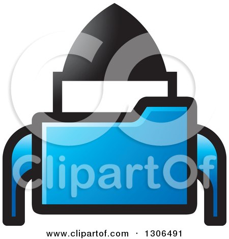 Clipart of a Blue File Folder Forming a Rocket - Royalty Free Vector Illustration by Lal Perera