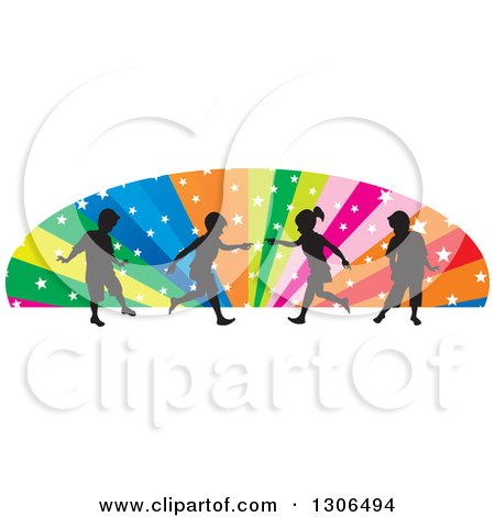 Clipart of Silhouetted Playful Children over an Arch of Colorful Rays and Stars - Royalty Free Vector Illustration by Lal Perera