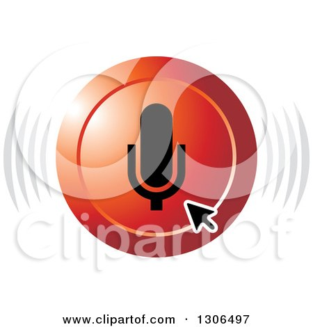 Clipart of a Computer Arrow Cursor over a Red Microphone Audio Icon - Royalty Free Vector Illustration by Lal Perera