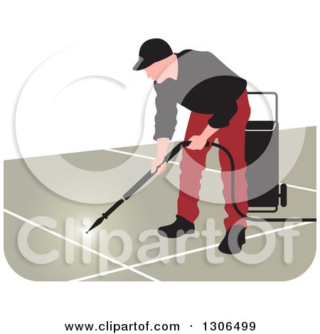 Clipart of a Pressure Washer Worker Man in a Red and Black Uniform - Royalty Free Vector Illustration by Lal Perera