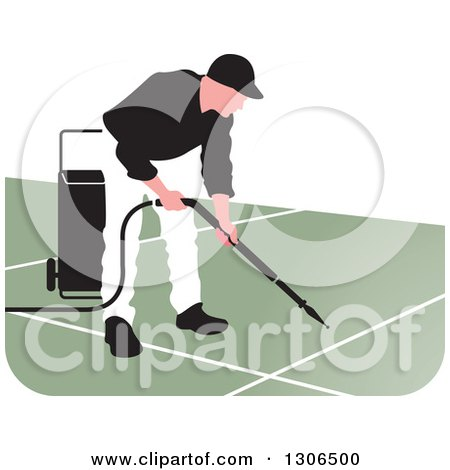 Clipart of a Pressure Washer Worker Man in a White and Black Uniform - Royalty Free Vector Illustration by Lal Perera