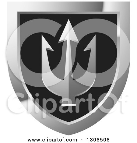 Clipart of a Black and Silver Shield with a Trident - Royalty Free Vector Illustration by Lal Perera