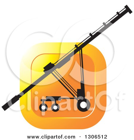 Clipart of a Black and White Grain Auger Machine over an Orange Square - Royalty Free Vector Illustration by Lal Perera