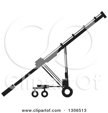 Clipart of a Black and White Grain Auger Machine - Royalty Free Vector Illustration by Lal Perera