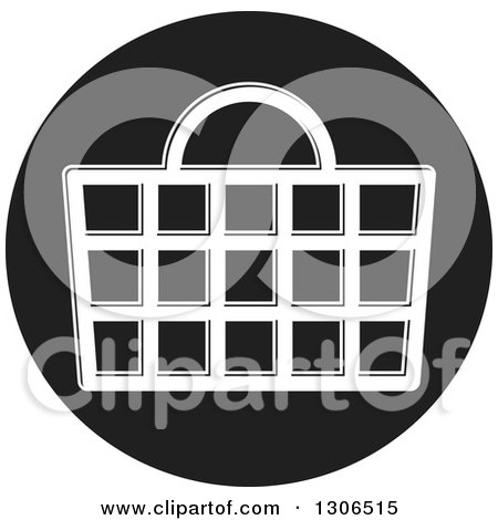 Clipart of a Round Black and White Shopping Basket Icon - Royalty Free Vector Illustration by Lal Perera