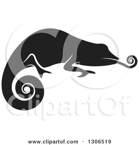 Clipart Of A Black And White Profiled Chameleon Lizard Sticking His Tongue Out Royalty Free Vector Illustration