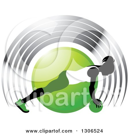 Clipart of a Black Silhouetted Woman in Green and White, Exercising with a Ball over a Circle and Silver Arches - Royalty Free Vector Illustration by Lal Perera