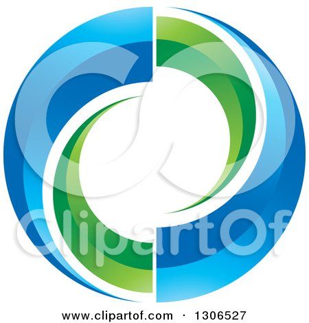 Clipart of a Circle of Green and Blue Swooshes - Royalty Free Vector Illustration by Lal Perera