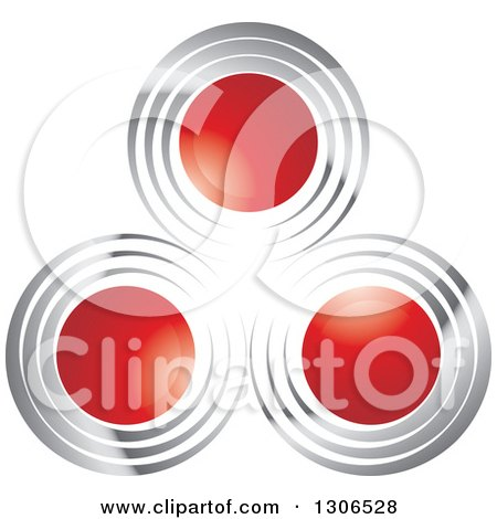 Clipart of a Design of Red Circles with Silver - Royalty Free Vector Illustration by Lal Perera
