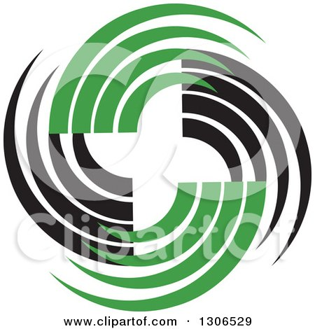 Clipart of a Circle Made of Black and Green Swooshes - Royalty Free Vector Illustration by Lal Perera