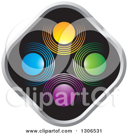 Clipart of a Colorful Abstract Design of Circles on a Black and Silver Diamond - Royalty Free Vector Illustration by Lal Perera