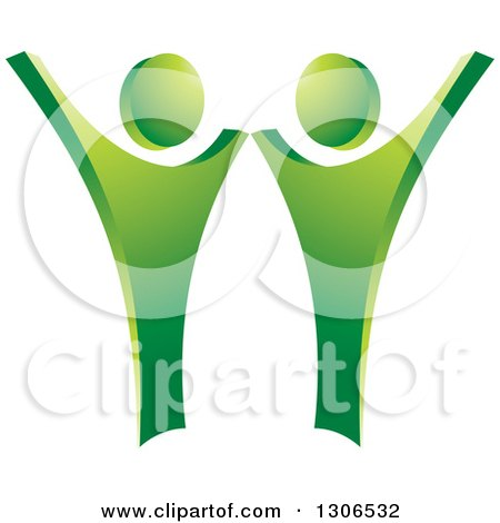 Clipart of a Happy Green Couple Dancing or Cheering - Royalty Free Vector Illustration by Lal Perera