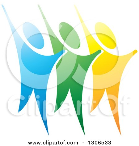 Clipart of a Trio of Happy Blue Green and Yellow People Cheering - Royalty Free Vector Illustration by Lal Perera