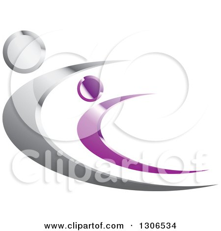 Clipart of Shiny Silver and Purple People Flying or Dancing - Royalty Free Vector Illustration by Lal Perera