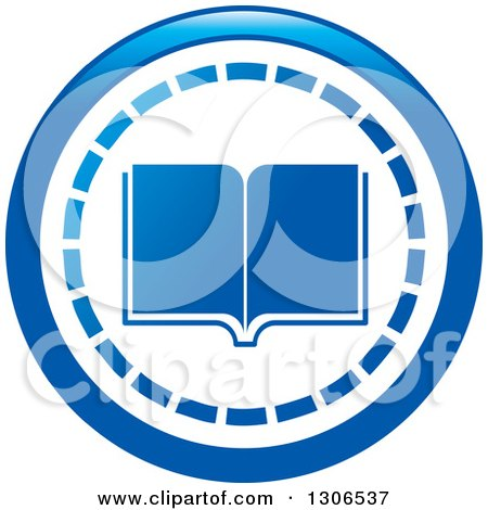 Clipart of a Round Blue Library Book Icon - Royalty Free Vector Illustration by Lal Perera
