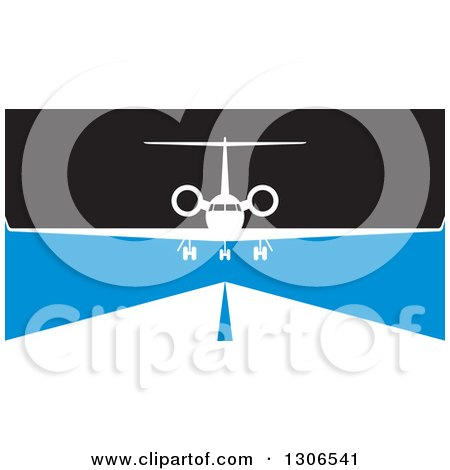 Clipart of an Airplane over a Runway in Blue Black and White - Royalty Free Vector Illustration by Lal Perera